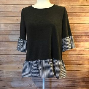 """""""Pleione"""" 3/4 sleeve top with striped ruffles"""
